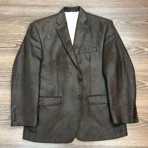 Lauren Ralph Lauren Brown Faux Leather Blazer 40S